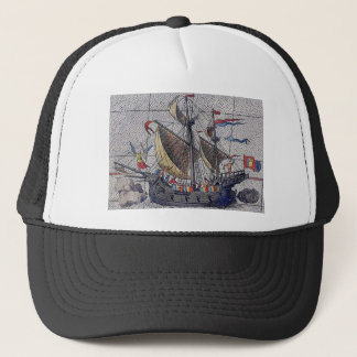 Wooden Sailing Ship and Crew Trucker Hat