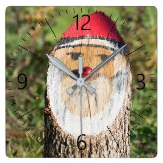 Wooden Santa Claus Square Wall Clock