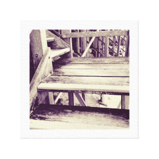 Wooden Seaside Steps Canvas Print