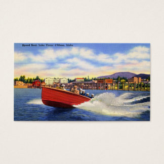 Wooden Speed Boat on Lake Coeur d'Alene, Idaho Business Card