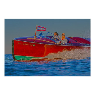 Wooden Speedboat-Fast Turn Poster