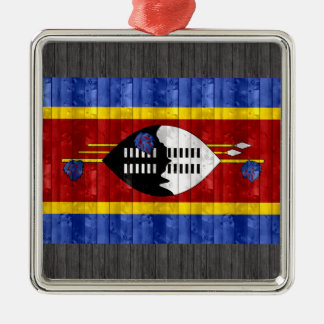 Wooden Swazi Flag Metal Ornament