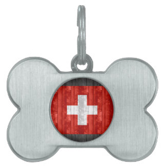 Wooden Swiss Flag Pet Tag