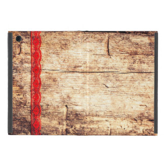 Wooden Texture Background. Red Ribbon. Gift Wrap Case For iPad Mini