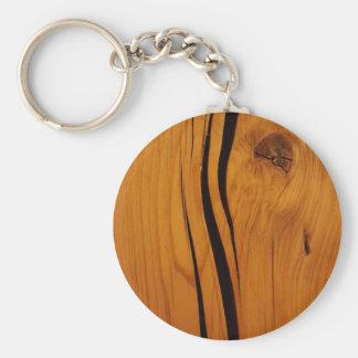Wooden texture basic round button keychain