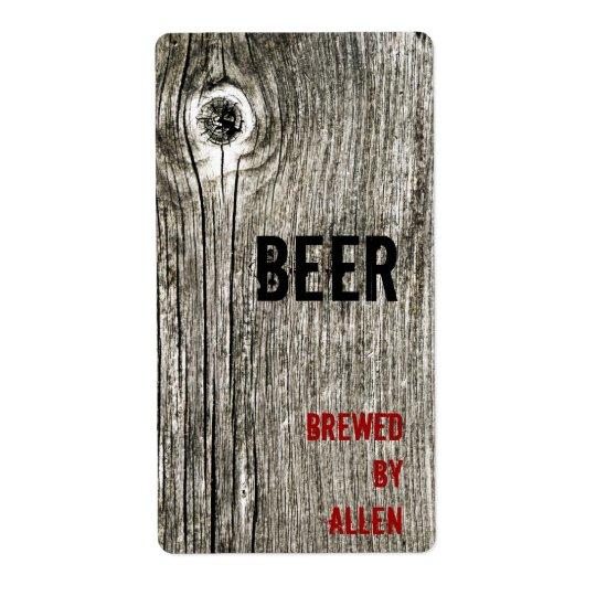 wooden texture beer bottle label