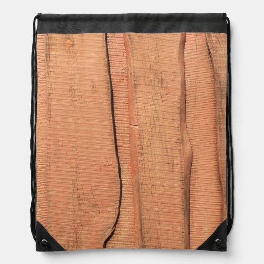 Wooden texture drawstring bag