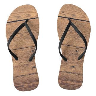 Wooden texture flip flops
