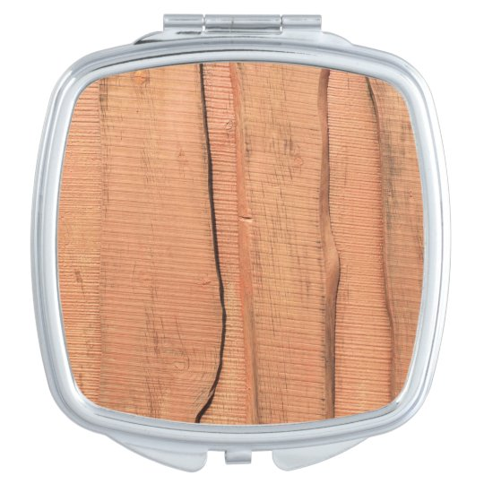Wooden texture mirror for makeup
