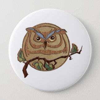 Wooden Textured Owl Logo 4 Inch Round Button