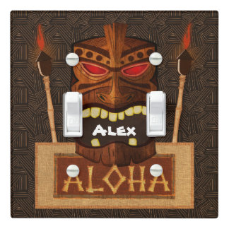 Wooden Tiki Mask Vintage ALOHA Tropical Hawaiian Light Switch Cover