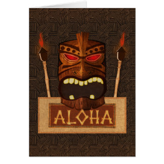 Wooden Tiki Mask Vintage Retro ALOHA Hawaiian Card