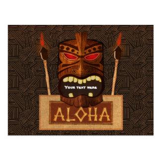 Wooden Tiki Mask Vintage Retro ALOHA Luau Party Postcard
