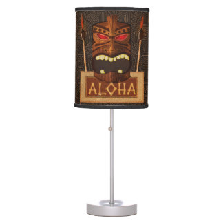 Wooden Tiki Mask Vintage Retro Luau Hawaiian Style Desk Lamps