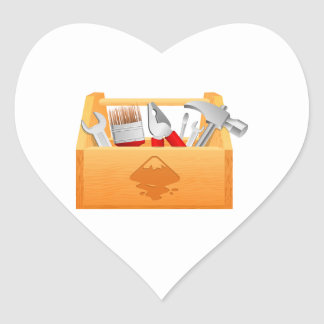 Wooden Toolbox with Tools Heart Sticker