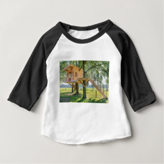 Wooden tree house in oak tree with grass baby T-Shirt