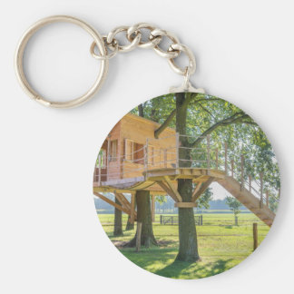 Wooden tree house in oak tree with grass basic round button keychain