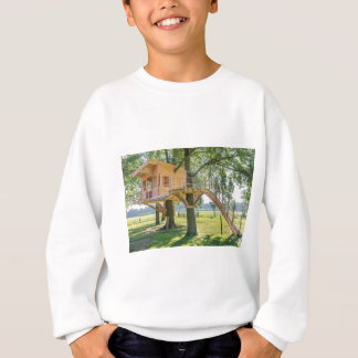 Wooden tree house in oak tree with grass sweatshirt