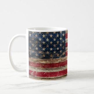 Wooden Vintage American Flag Coffee Mug