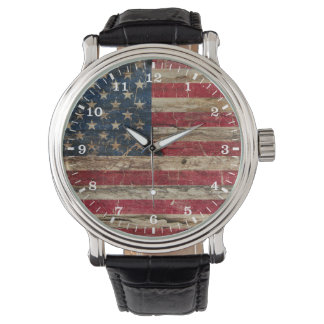 Wooden Vintage American Flag Wrist Watch