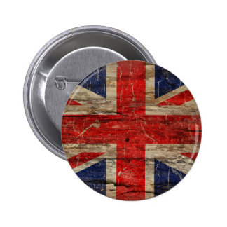 Wooden Vintage Union Jack Flag 2 Inch Round Button