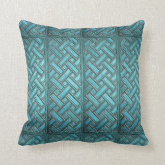 Wooden Weave Pattern Turquoise Throw Pillow