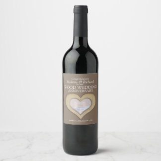 Wooden wedding anniversary custom wine labels