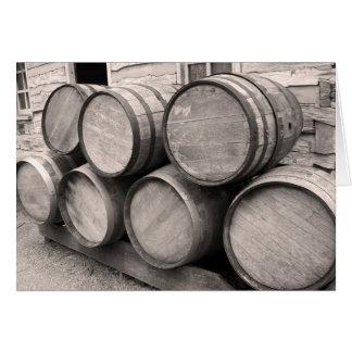 Wooden Whiskey Barrels Card