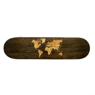 Wooden World Map Skate Decks