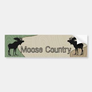 Woodgrain Camo Moose Country Silhouette Bumper Sticker