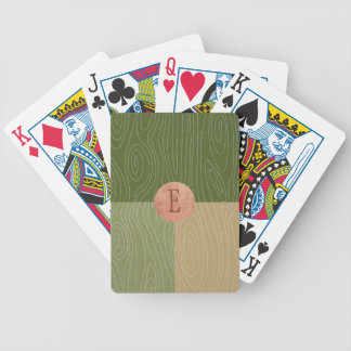 Woodgrain Color Blocks Fern Green and Copper Bicycle Playing Cards