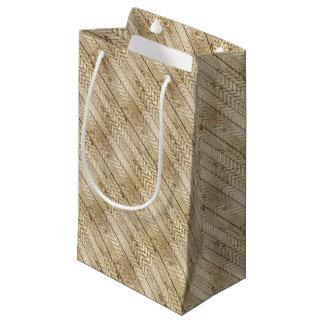 Woodgrain Metallic Chevron Stripe Small Gift Bag