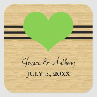 Woodgrain Mod Heart Wedding Stickers, Green