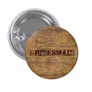 Woodgrain Rustic Country cowboyWedding 1 Inch Round Button