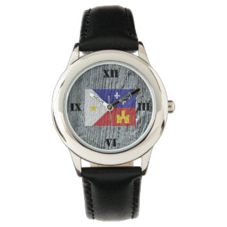 Woodgrain Style Acadian Cajun Flag Watch