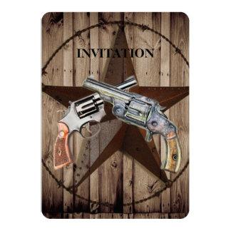 Woodgrain texas star cowboy western country pistol card