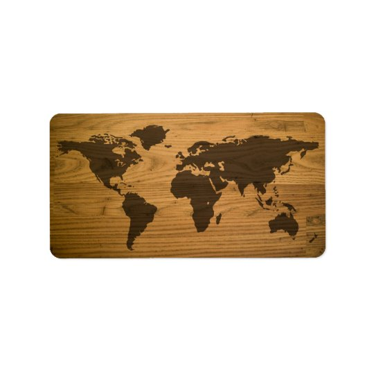 Woodgrain Textured World Map Label