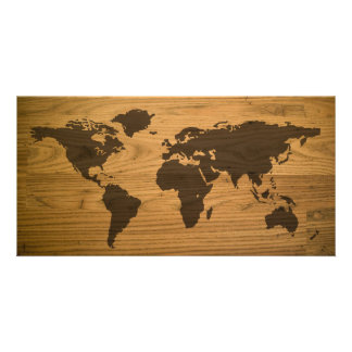 Woodgrain Textured World Map Custom Photo Card