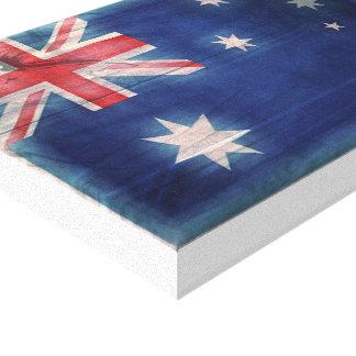 Woodgrain Vintage Australian Flag on Canvas