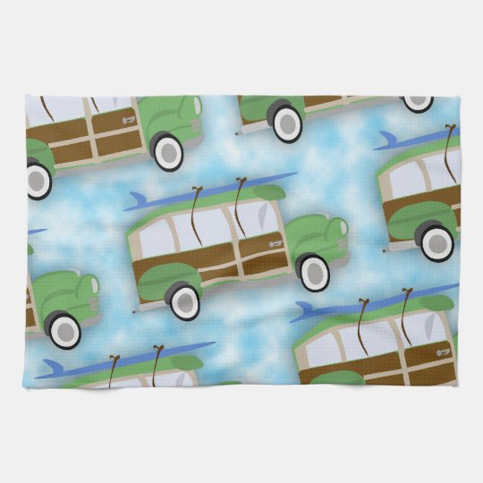 Woodie Surfin Wagon Pattern Towels