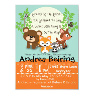 Woodland and Fox Baby Shower Invitation