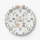 Woodland Animal acorn pattern Paper plates