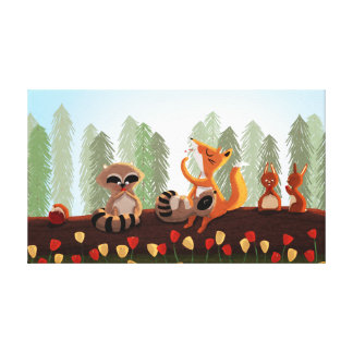 "Woodland Animal Art Med ""Snack Time"" Canvas Print"
