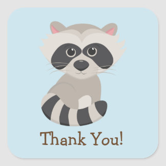 Woodland Animal Baby Raccoon on Blue Thank You Square Sticker