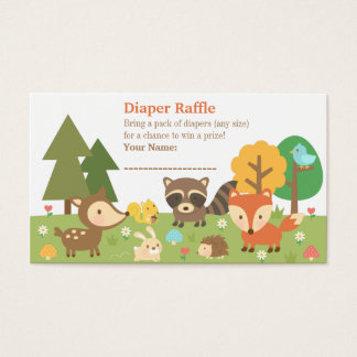 Woodland Animal Baby Shower Diaper Raffle Tickets