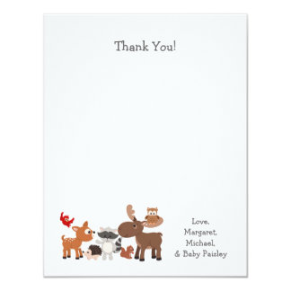 "Woodland animal baby shower thank you notes 4.25"" x 5.5"" invitation card"