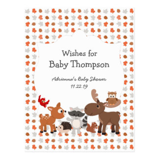 Woodland animal baby shower, wishes for baby postcard