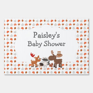 Woodland Animal Baby Shower yard welcome sign