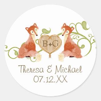 Woodland Animal Creatures, Fox n Vines Weddings Classic Round Sticker