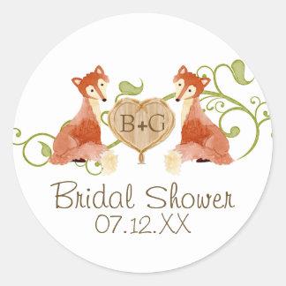Woodland Animal Creatures, Fox n Vines Weddings Round Sticker